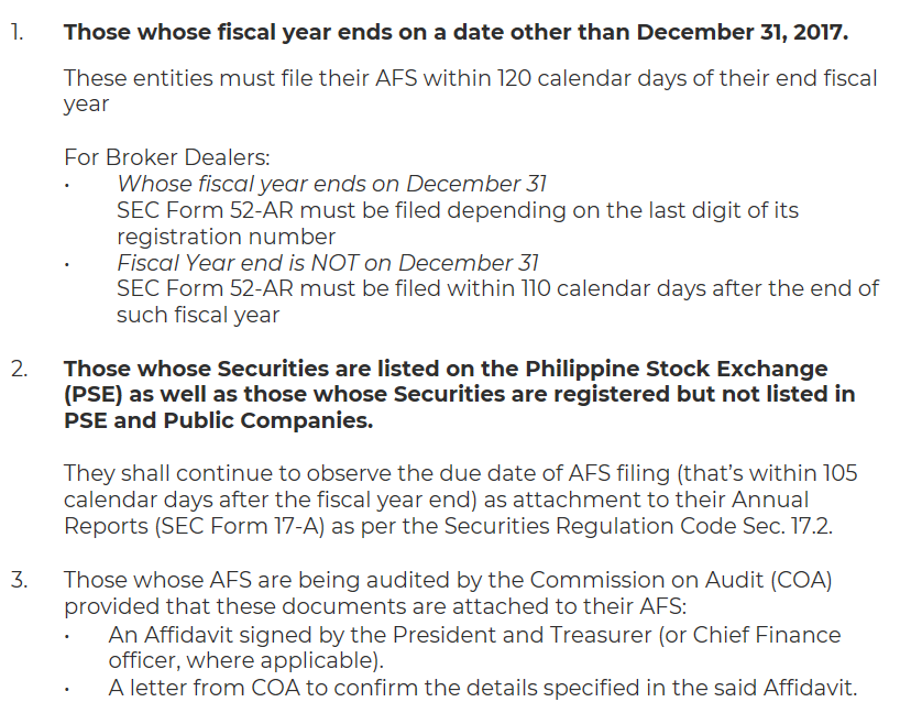2018 Filing Schedule of AFS and GIS - Ines Gopez Amarante