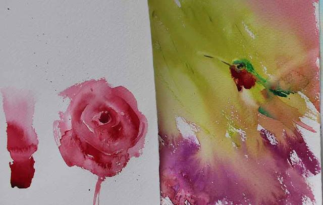 Painting red rose hummingbirds in watercolor by Olga Peregood
