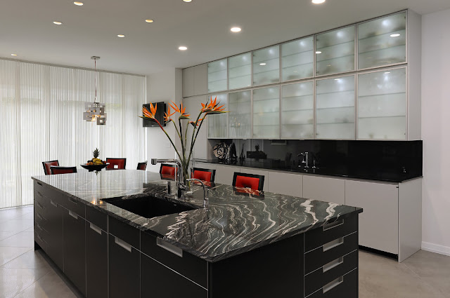 Gorgeous Kitchen Design Ideas With Grey Kitchen Cabinet And Black Granite Countertop And Stainles