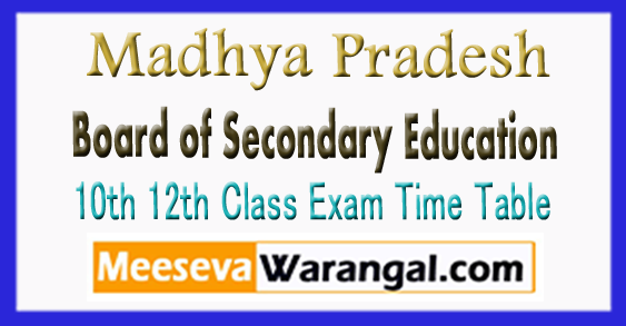 Madhya Pradesh Board of Secondary Education 10th 12th Class Exam Time Table 2018