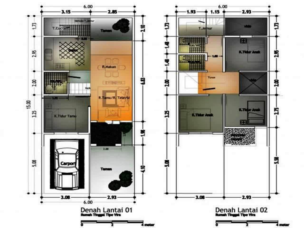 10 Denah Rumah Type 70 Minimalis 1 Lantai 2 Lantai Hook