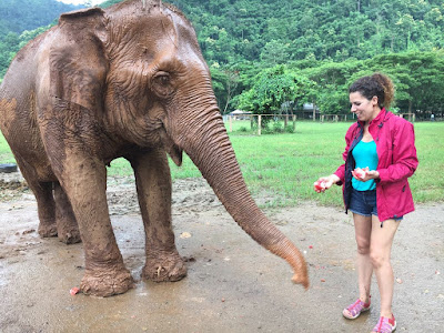 María en el centro de elefantes de Tailandia
