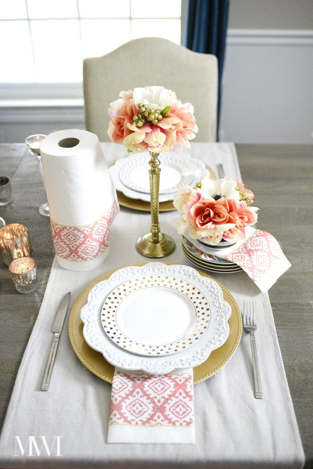 A beautiful table scape vignette featuring pretty paper towels from the new Alyssa Milano and Viva Towels line.