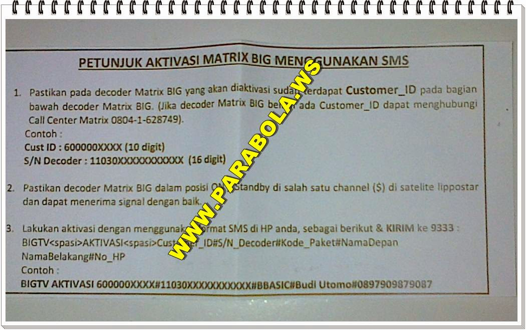 aktivasi decoder receiver matrix big tv