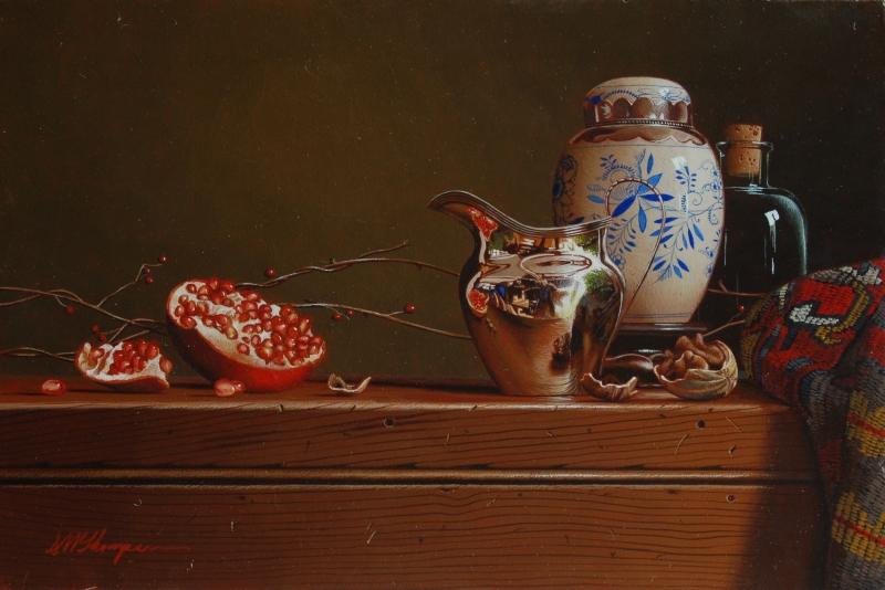 07-Pomegranate-with-Ginger-Jar-Mark-Thompson-Photo-Realistic-Still-Life-Paintings-www-designstack-co