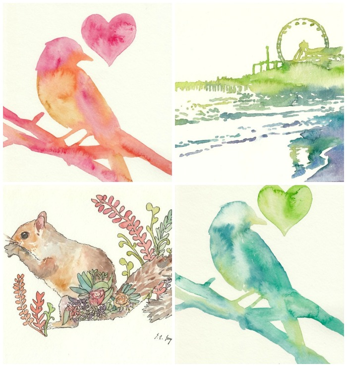 watercolor birds, ferris wheel, and chipmunk: growcreative