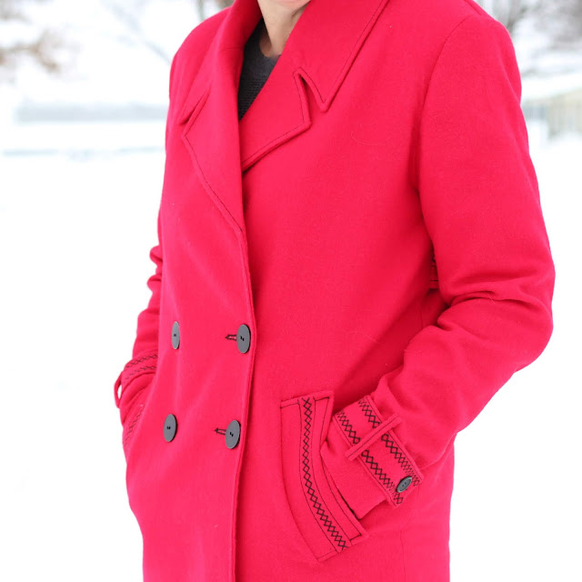 Simplicity 8451 red wool coat with decorative stitches created in the Embroidery Mode with the Pfaff Creative Icon - close up of the stitches