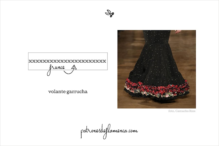 Patrón de volante garrucha - patrones de flamenca