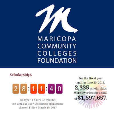 Photo of maricopa community colleges foundtation logo with the amount of days and house and money left