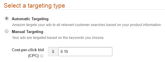screenshot 3: select a targeting type