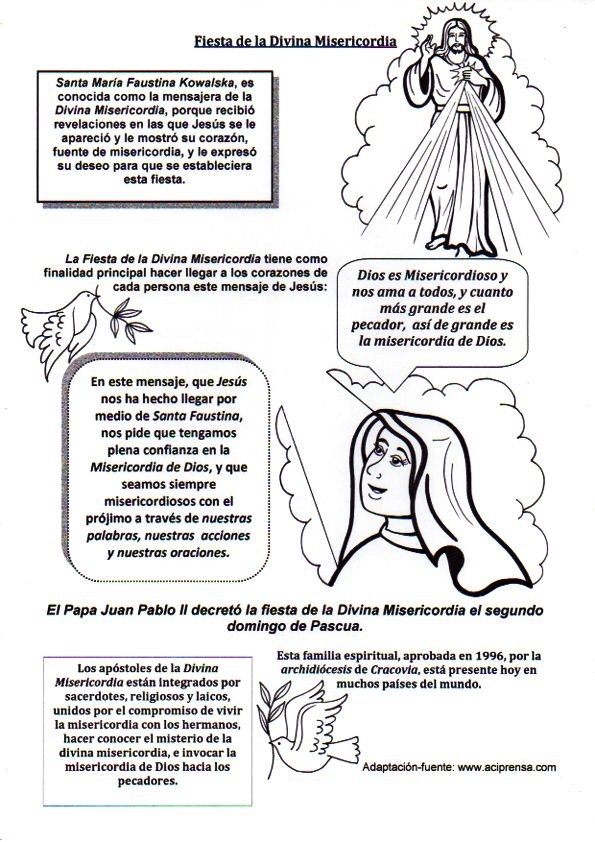 La Santidad como tarea.: Colorea a Jesús Divina Misericordia: