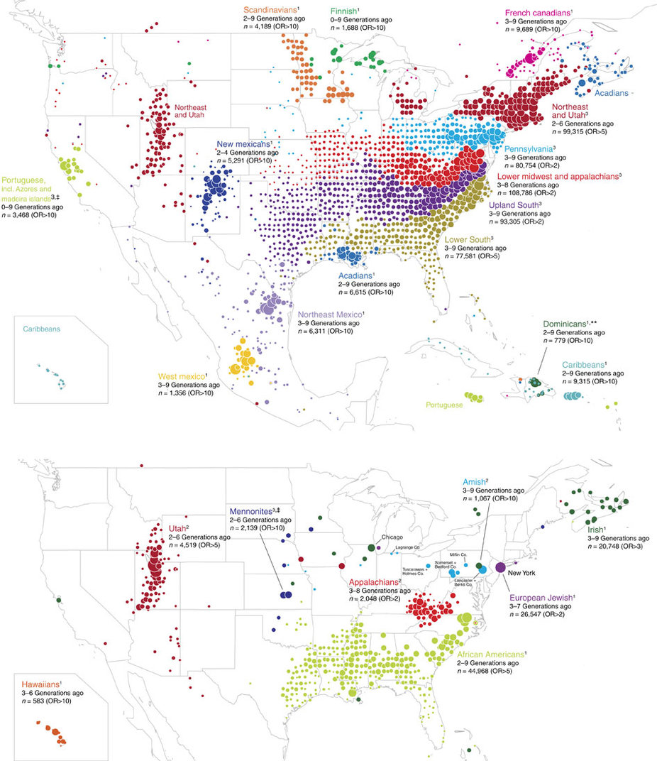 Clustering of 770,000 genomes reveals post-colonial population structure of North America.