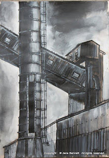 ink and gouache drawing of  White Bay Power Station by artist Jane Bennett