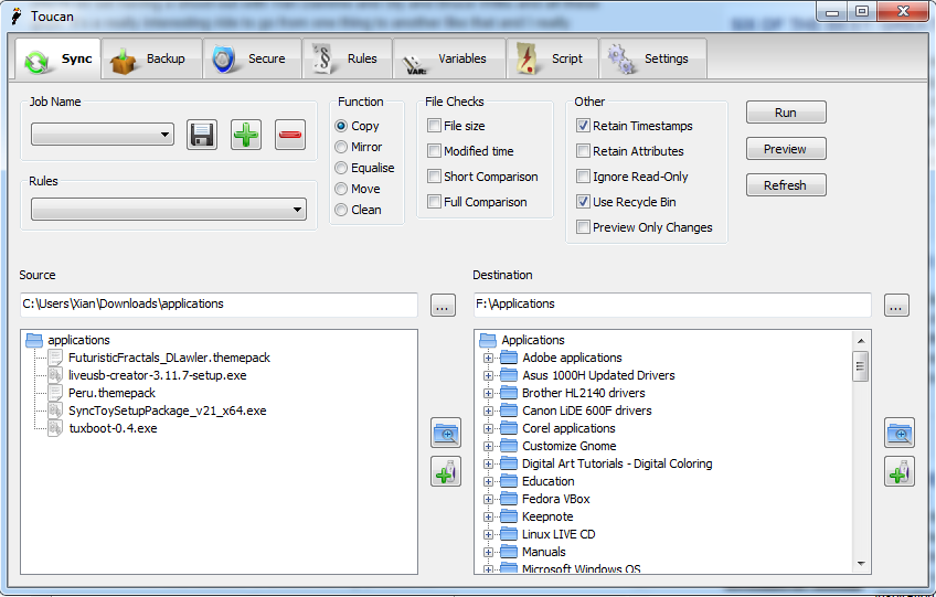 Toucan, SyncToy, and File Syncing Freeware in Windows