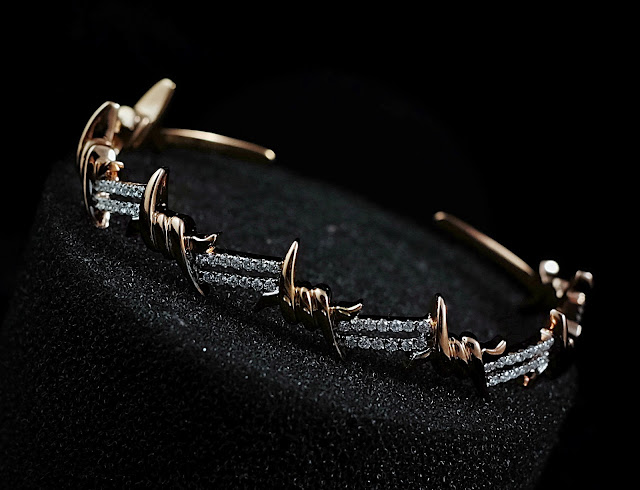Sold Gold Djula Barbed Wire Bangle Rosegold With Diamond