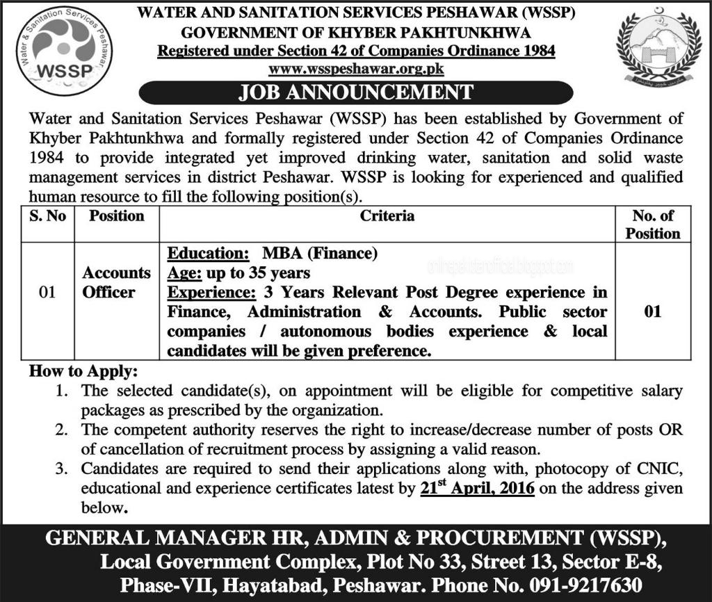Water and Sanitation Services Peshawar WSSP Jobs