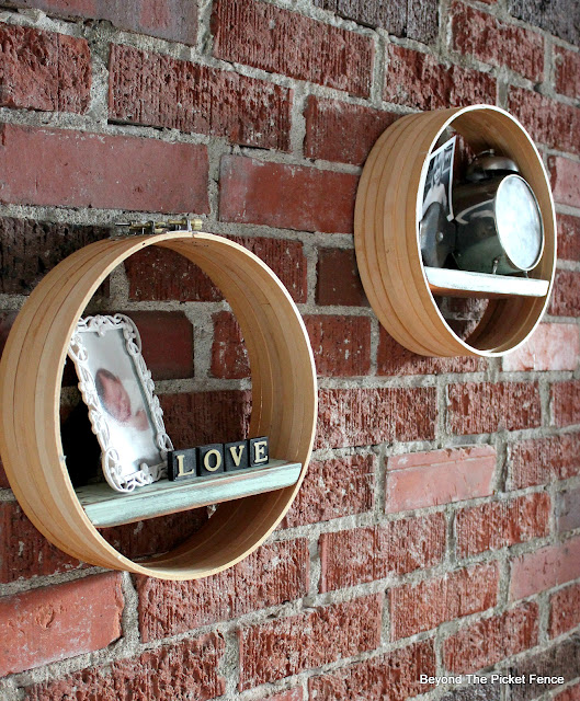 Upcycle Thrift Store Embroidery Hoops to make boho industrial display shelves