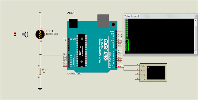 LDR sensor with Arduino simulation in proteus