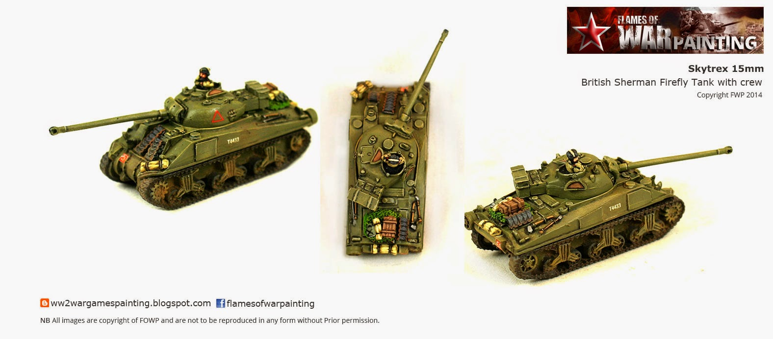 15mm British Sherman Fire fly Tank from SkyTrex with crew using ST stowage accessories.