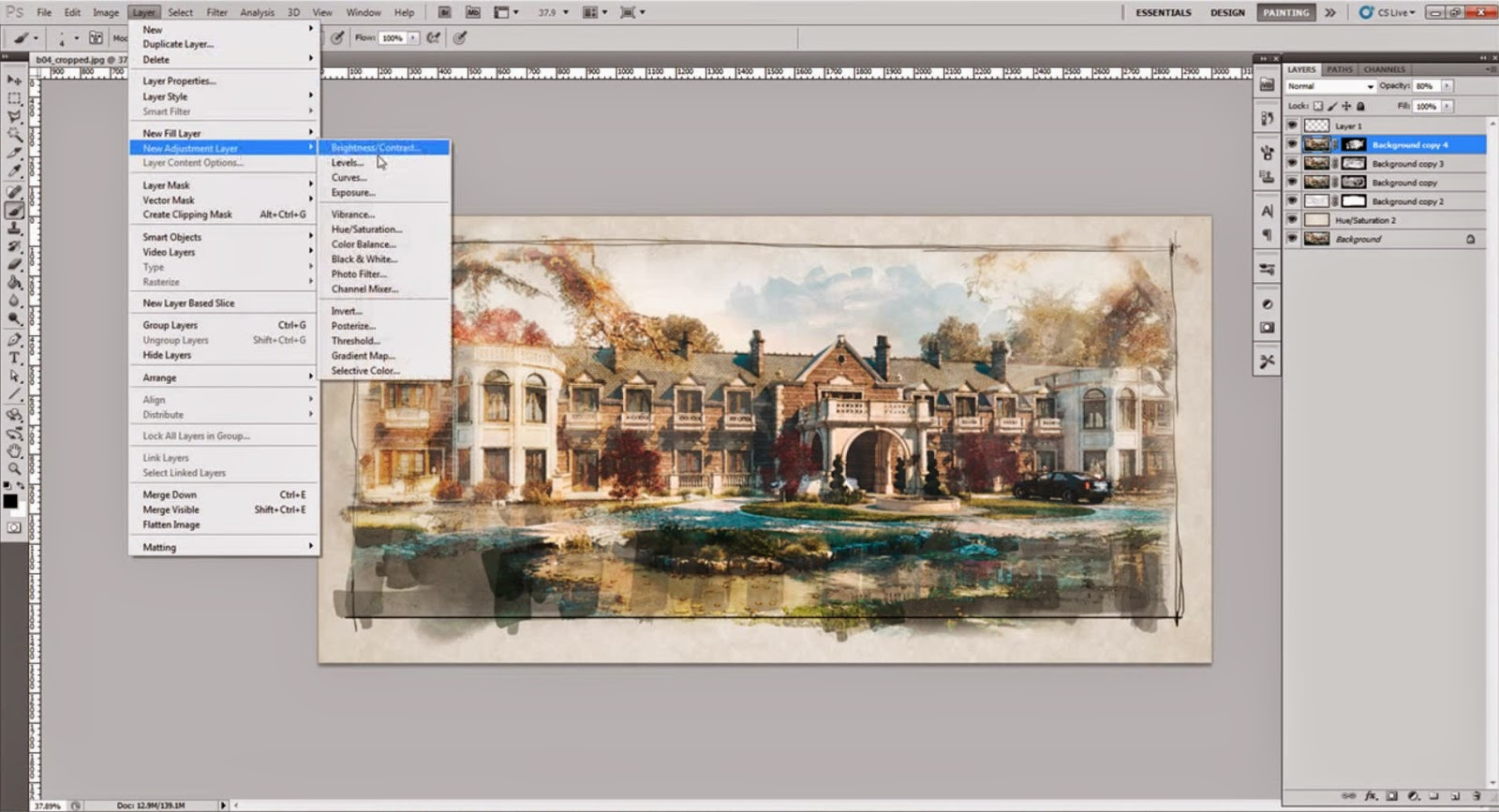 How To Create Watercolor Effect For Arch Viz In Photoshop Cg Tutorial