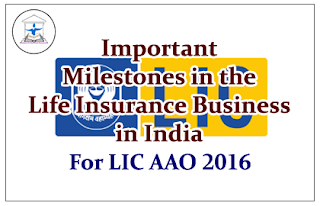 Important Milestones in the Life Insurance Business in India- For LIC AAO 2016