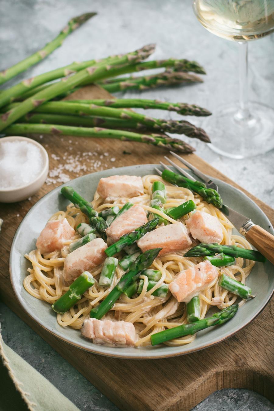 Chic, Chic, Chocolat: Spaghetti au saumon et aux asperges vertes