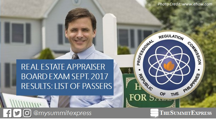 September 2017 Real Estate Appraiser board exam passers list