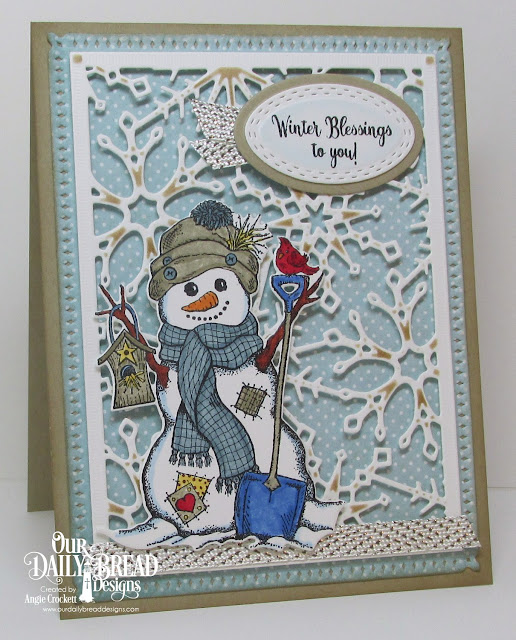 ODBD White as Snow Stamp/Die Duos, ODBD Custom Snowflake Sky Dies, ODBD Custom Oval Stitched Rows Dies, ODBD Custom Ovals Dies, ODBD Christmas Paper Collection 2014, Card Designer Angie Crockett