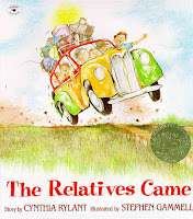 my family and me, preschool theme, picture books, the relatives came, cynthia rylant