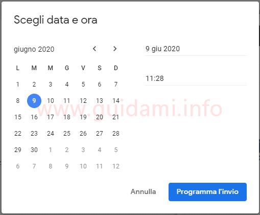 Gmail popup Scegli data e ora con opzioni di programmazione invio email