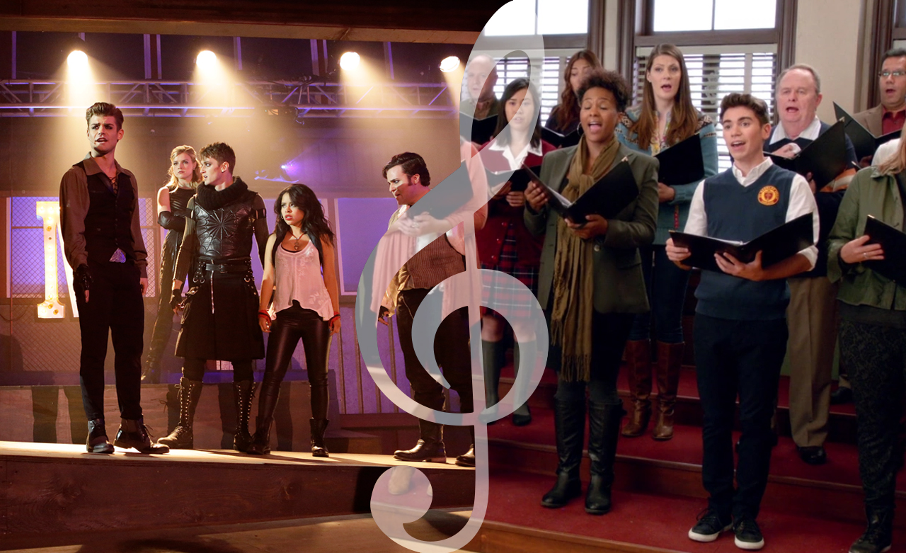 Reparto de la serie 'The Fosters' y Noah Galvin con el coro en 'The Real O'Neils'