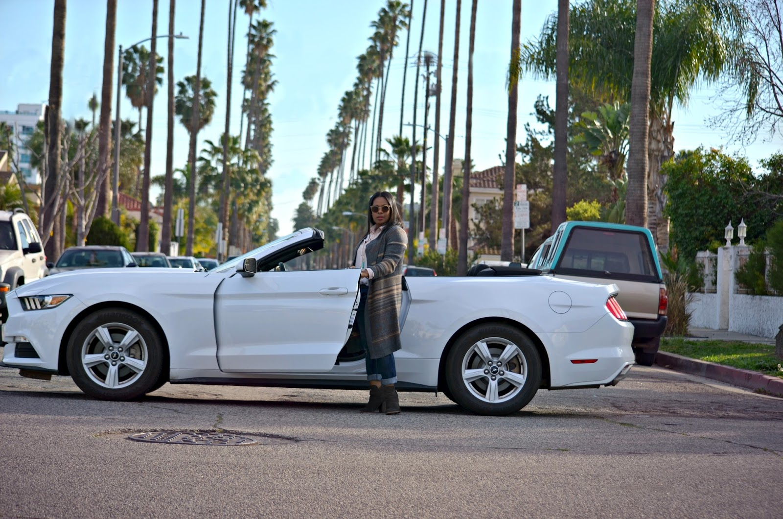Los Angeles Palms Lined Street in A Convertible Mustang Listening To Mary J. Blige