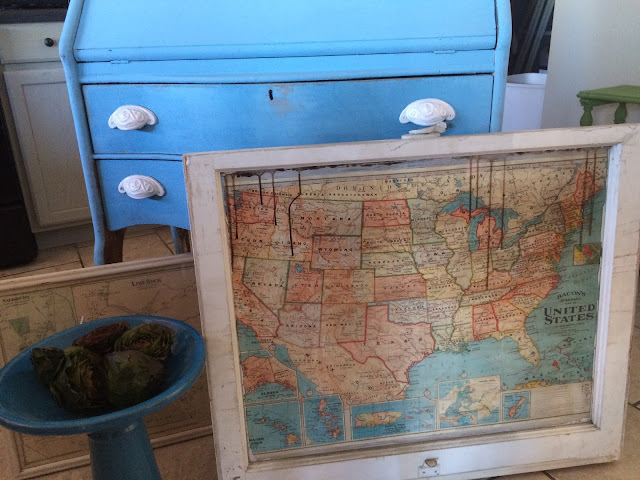 I adore this map in a vintage window frame! Love this idea!