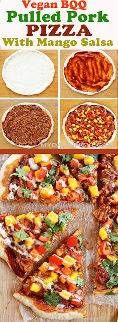 VEGAN PULLED PORK PIZZA WITH MANGO SALSA