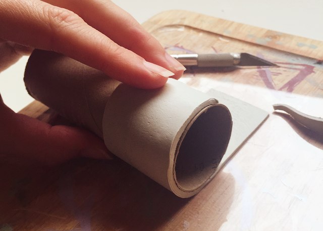 Toilet roll air-dry clay