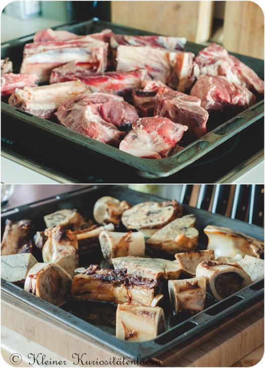 Mark-, Sand-, Fleischknochen und Suppenfleisch für Rinderfond vor und nach dem Anrösten