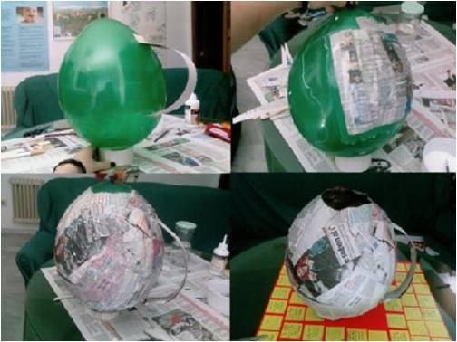 Manualidades con papel periodico y globos y