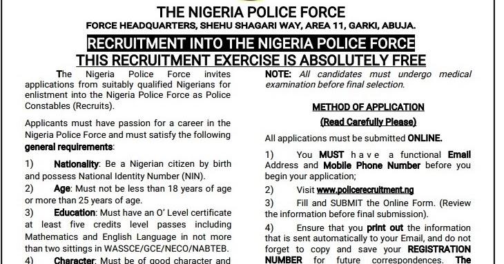 WELCOME TO NAIJA VOICE: NIGERIA POLICE FORCE RECRUITMENT