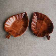 Pair of Wooden Leaf Tray