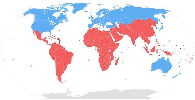 Ilustrasi Persebaran Negara Maju dan Negara Berkembang