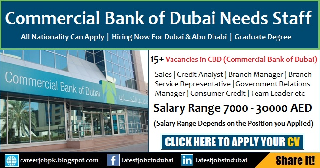 Commercial Bank of Dubai (CBD) Careers and Jobs