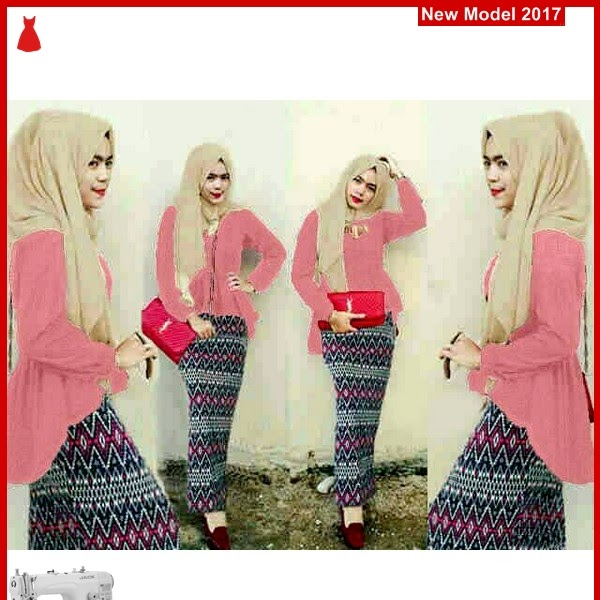 MSF0101 Model Hijab Peplum Arraya Tribal Peach BMG