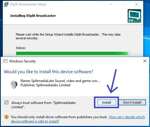 Install Xsplit Broadcaster