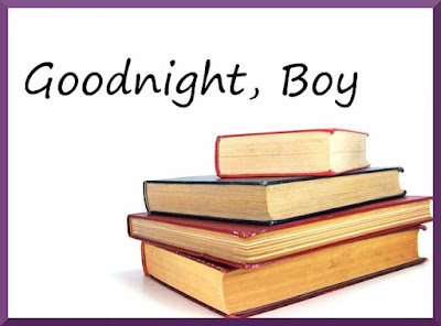 Goodnight boy title image with book stack and purple border