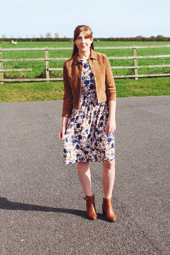 topshop, mango, suedejacket, tkmaxx, brownboots, brownsuedejacket, floralmididress, floraldress, autumnflorals, wiw, whatimwearing, lotd, lookoftheday, ootd, outfitoftheday, fashionbloggers, fashionpost, fbloggers, fblogger