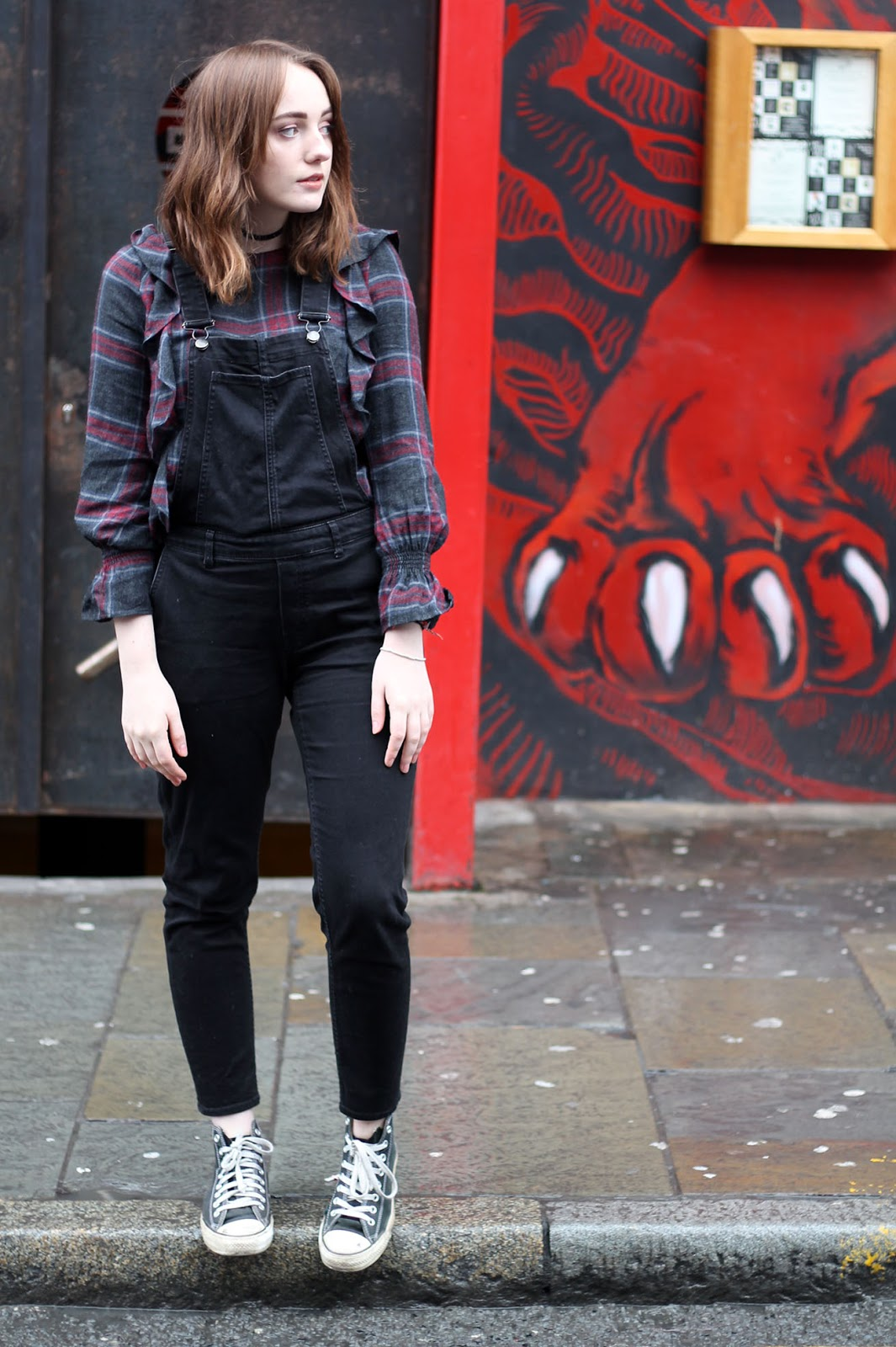 Liverpool fashion blogger, Zara checked ruffle top and denim dungarees and black converse