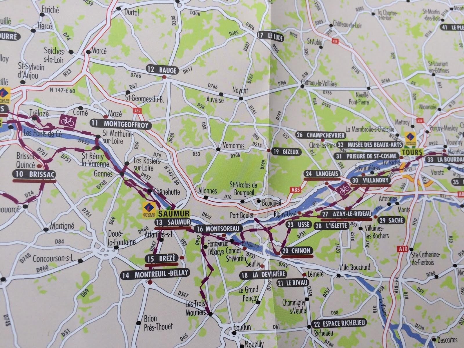mapa trasy rowerowej nad Loarą