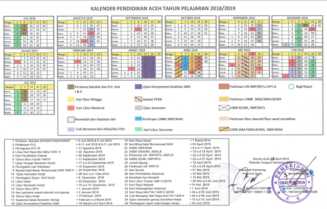 Kalender Pendidikan (KALDIK) Provinsi Aceh Tahun 2018/2019