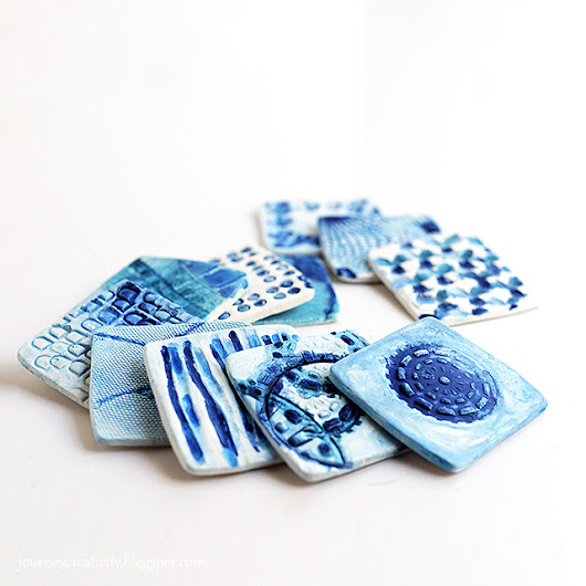 Turquoise-blue clay tiles