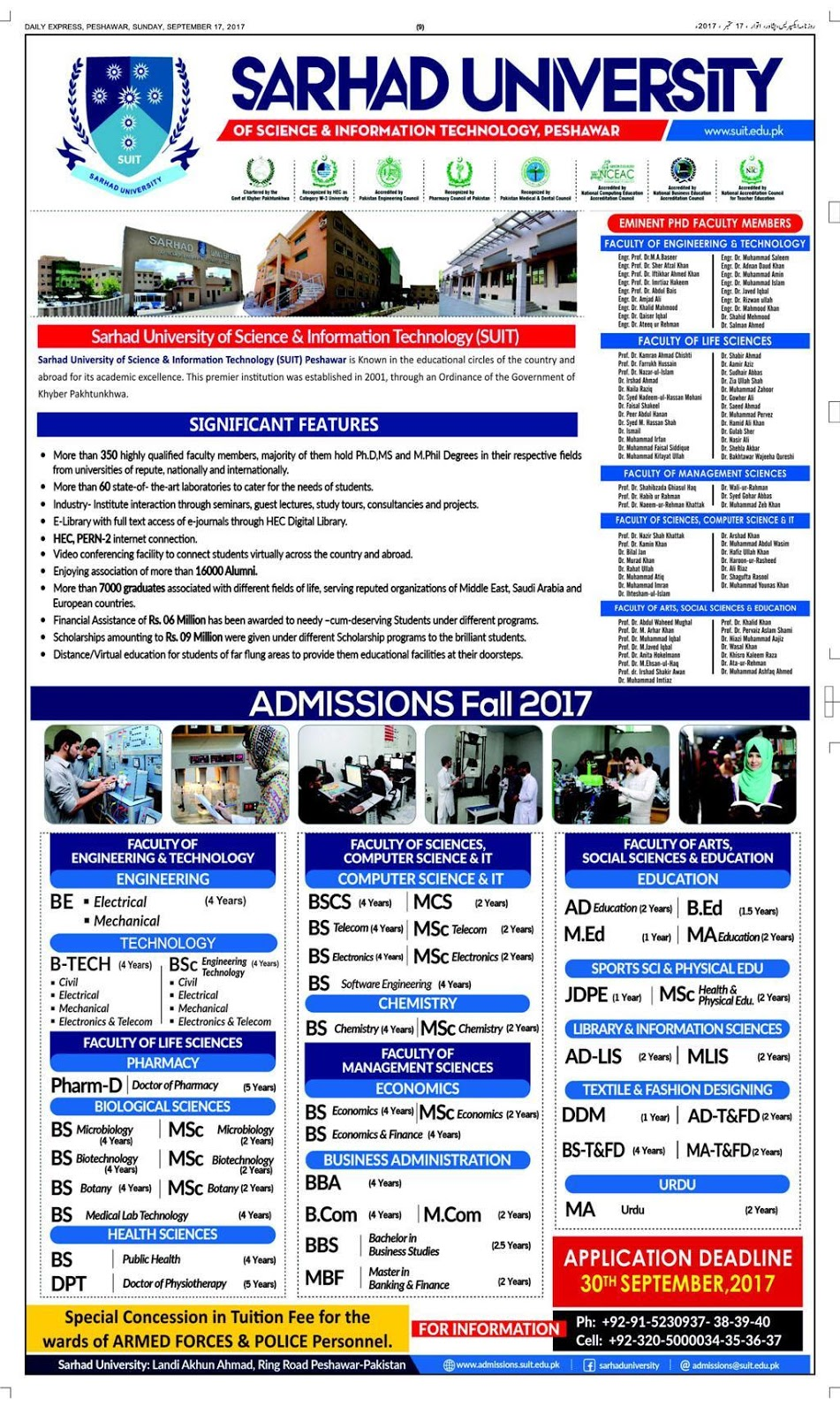 Admissions Open in Sarhad University of Science and Information Technology - 2017